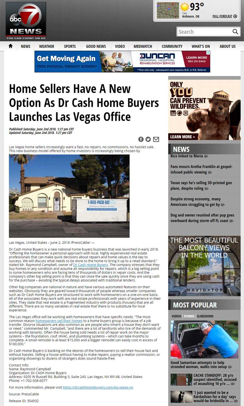 Dr Cash Home Buyers has launched their home buying office in Las Vegas, NV to buy houses with 100% cash and no fees, no commissions, and no hassles.